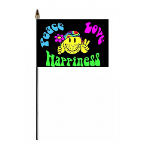 Peace Love Happiness Hand Flag - Small